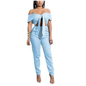 Bow Wrap Off-Shoulder 2-pc Jumpsuit